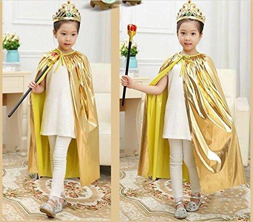 Matissa Cape und Krone Set Kostüm für Erwachsene und Kinder König Königin Prinz Prinzessin Umhang und Krone Cosplay Unisex Kostümfest (Prinzessin, Gold) (Kinder König Kostüm Zu Machen)