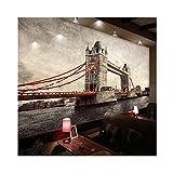 VVNASD 3D Murales Sfondo Parete Adesivi Decorazioni Ufficio Soggiorno Sfondo Arte Europea Stereo Ponte di Londra Arte Ragazze Camere da Letto (W) 250X(H) 175Cm