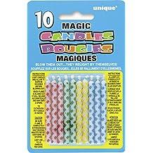 Unique Party -  Velas de Cumpleaños Mágicas - Diseño de Diamante - Paquete de 10 (9806)