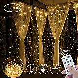 Greatever Lichtervorhang, 2019 Neuestes USB String Light 300 LEDs Lichterkettenvorhang Kupfer 3M*3M IP65 Wasserfest 8 Modi Lichterkette Warmweiß für Weihnachten Party Innen und Außen Deko