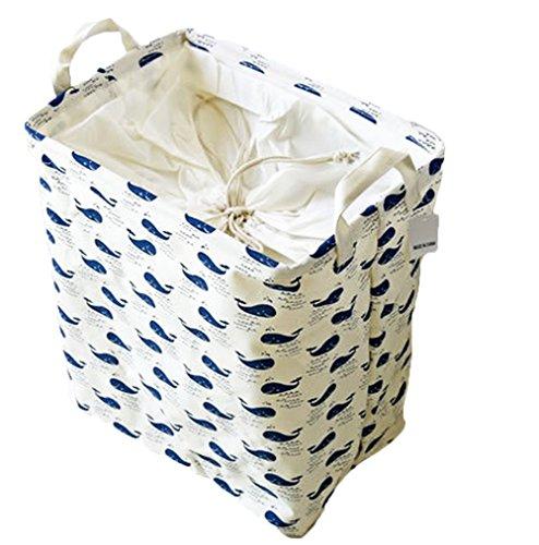 Daorier 1 Pcs Sac de Rangement en Toile Cordon Enfants Vêtements de Bébé Jouet Blanchisserie Garage Sac de Panier Cube 36*26*40 cm (Baleine)