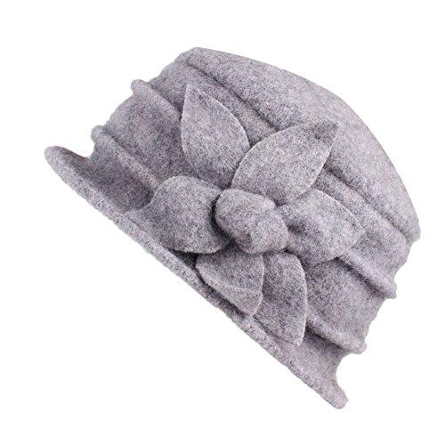 Amorar Damenwollmütze Wintermütze Filzmütze Wollhut Blume1920s Retro Kirche Hüte Fedora Trilby Eimer Bowler Hut