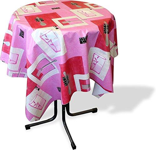 normani Wasser- und Schmutzabweisende Tischdecke Gartentischdecke für den Innen- und Außenbereich Farbe Pink Lunchtime Größe Rund 130 cm