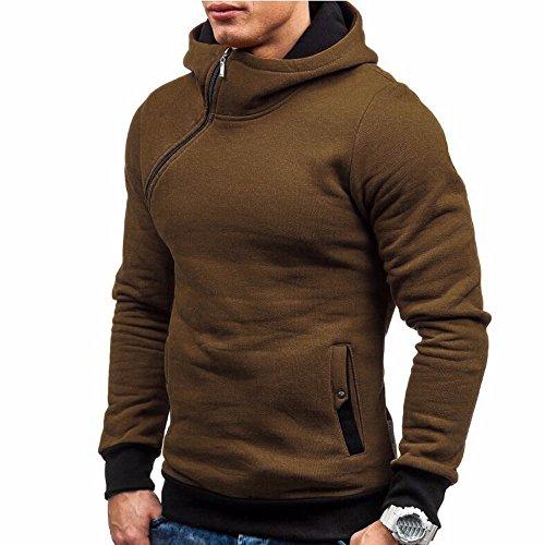 Herren Herbst Winter Langarm T-Shirt Rosennie Casual Hoodie Top Bluse Sweatshirt Männer Mode Patchwork Männer Zipper Hooded Sweatshirt Tops BluseKapuzenpullover Warm Classics