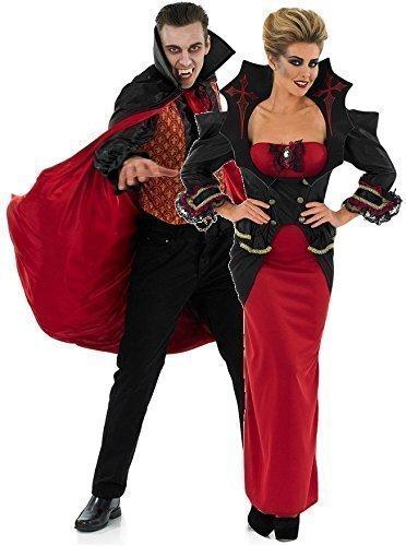 Paar Damen UND Herren Vampir Passend Halloween KostüM Kostüme Outfits UK 8-30 Übergröße & Herren M-XL - Rot/schwarz, Damen 36-38 & Herren L