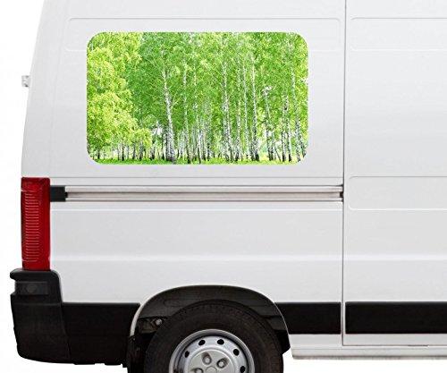 Autoaufkleber Birke Wald grün Frühling Landschaft Baum Car Wohnmobil Auto tuning Digital Druck Fenster Sticker LKW Bild Aufkleber 21B148, Größe 3D sticker:ca. 120cmx73cm (Landschaft Fenster Birke)