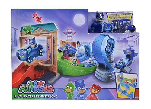 Simba 109402229 - PJ Masks Rival Racers Rennstrecke/ mit Looping/ mit Catboy und Katzenflitzer/ mit Ninja Bus/ mit 25 Streckenteilen - Spielzeug-rennstrecke