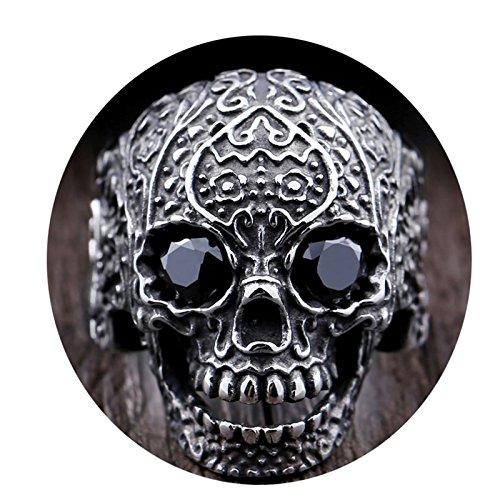 (Beydodo Titanring Herren Totenkopf Schädel mit Schwarz Augen Zirkonia Punk Ring Silber Freundschaftsring Größe 54 (17.2))