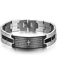 JewelryWe Stainless Steel Black Silver-Tone Religious Cross English Lords Prayer Mens Bracelet (with Gift Bag)