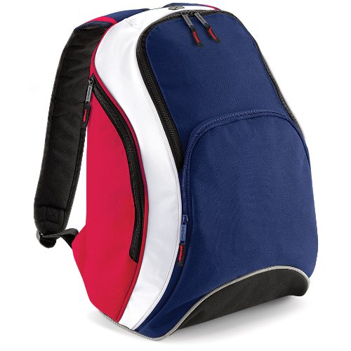 Bag base - Sac à dos lycéen étudiant loisirs sport TEAMWEAR BACKPACK BG571 - bleu navy blanc et rouge - 21L - mixte homme / femme