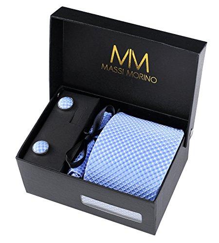 Massi Morino Herren Designer Krawatte - Box Set mit Einstecktuch, Manschettenknöpfe und Krawattennadel, handgenäht aus Mikrofaser Kunstseide in verschiedene Farben, inkl. Geschenkbox (Hellblau)
