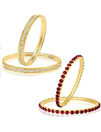 VK Jewels Gold And Rhodium Plated Alloy Bangles Set Combo For Women & Girls Made With Cubic Zirconia - COMBO1454G...