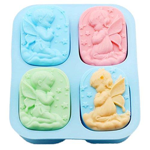 Engel Silikonform (Leisial™ Seifen Gießformen Seife Seifenformen Silikon Kerzengießformen Engel Silikonform für Seife und Kerze Blau 18.5*14.5*3CM)