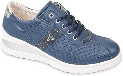 Valleverde 17151 Sneakers Scarpe Donna Zeppa in Pelle Blu Casual