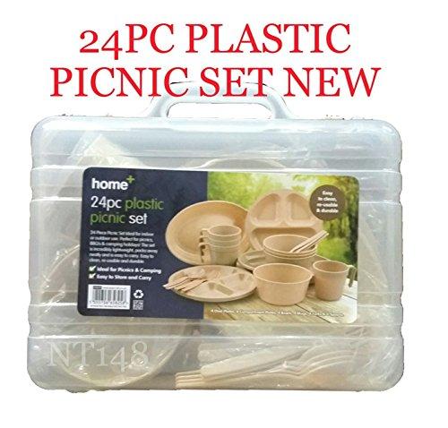 BS 24PC Campeggio Picnic Set Piatti Ciotole di plastica riutilizzabili Occhiali cucchiai forchette UK