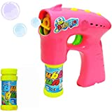 Funny Teddy Electronic Bubble Gun | Bubble Making Toy Gun With Lights And 2 Bubble Solution Bottles | Toy For Kids ( Assorted Color)