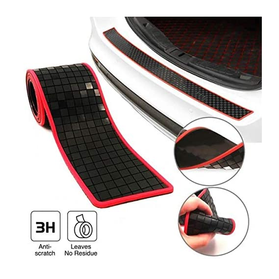 AutoTrends Red Texture Universal Car Trunk Rear Bumper Guard Sill Plate Trunk Rubber Protector Pad Kit With Free Adhesive Tape