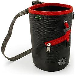 CampTeck Bolsa de Tiza con Cordón Ajustable Bolsa de Magnesio para Escalada, Bouldering, Gimnasia, Levantamiento de Pesas y mucho más – Negro