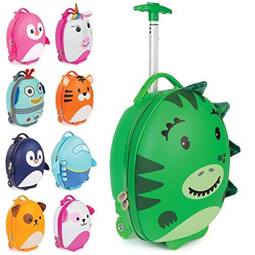 boppi Tiny Trekker trolley per bambini bagaglio a mano trolley con maniglia trolley leggero con ruote valigia a mano 17 litri - Dinosauro