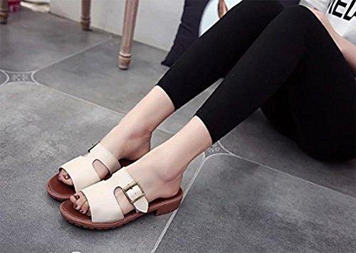 Mme boucle sandales sandales d'été et pantoufles mot drag casual chaussures à talons bas, tête de poisson beige