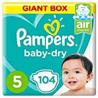 Pampers Baby-Dry Diapers, Size 5, Junior, 11-16kg, Giant Box, 104 Count