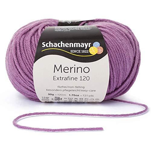 Schachenmayr Merino Extrafine 120 9807552-00146 pflaume Handstrickgarn, Schurwolle -