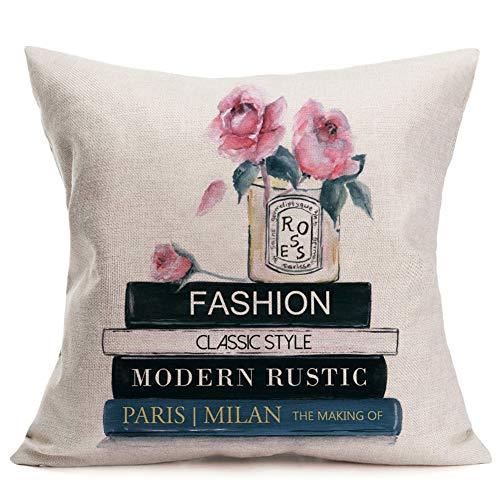 �ge, Bunte Mohnblumen-Muster, Retro-Vase, Baumwolle, Leinen, für Zuhause, Couch oder Büro, dekorativer Kissenbezug quadratisch, 45,7 x 45,7 cm 18