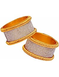 Jaipur Mart 2 Piece Broad Shiny Crystal Gold Plated Bangles Size 2.6 Jewellery Gift For Her, Girl, Women, Mother...