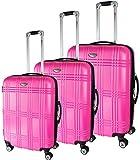 BRUBAKER set da tre valigie in ABS - Bauli da viaggio - espandibili - color pink