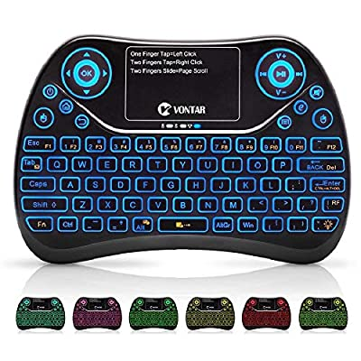 (Updated 2018) Mini Wireless Keyboard 7 Color Backlit with Touchpad Mouse Combo, 2.4GHz USB Handheld Rechargeable Remote Multimedia Game Keyboard for PC / PAD / HTPC / IPTV / Tablet / Smart TV / Projector / Android TV Box / PS4 / PS3 / Xbox ONE / Raspberr