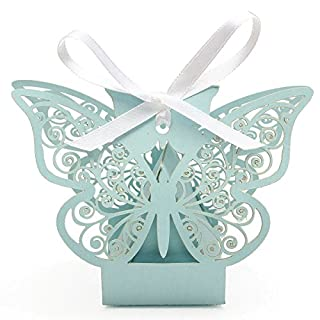 Butterfly Candy Box, 50 Pack Stylish Butterfly Laser Cut Birthday Shower Party Gifts Candy Boxes With Ribbon Wedding Favor Box Case by BuycheapDG (Aqua Blue)