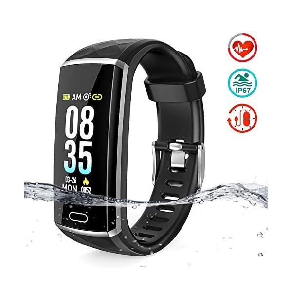 LOZAYI Pulsera de Actividad, Pulsera Actividad Inteligente, IP67, Reloj Inteligente para Mujer y Hombre, con Pulsómetro… 1