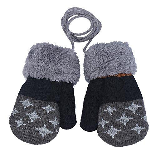 XXYsm Baby Handschuhe Winter Fäustling Unisex Warm halten Patchwork Gloves mit Band Plüsch Dunkelgrau (Baby-fäustlinge Mit Bändern)