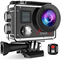 "Campark Action Camera Waterproof 4K Wifi Sport Cam 2"" LCD Screen 170° Wide Angle Underwater Camcoder with Remote Control 2 Upgraded Batteries + Professional Bag"
