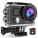 Campark ACT76 Sport Action Cam 4K 1080P Dual LCD Bildschirm Kamera WIFI 16MP Ultra HD Helmkamera Wasserdicht mit Handgelenk Fernbedienung 2 Batterien Transporttasche und kostenlose Accessoires