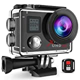 Campark ACT76 Sport Action Cam 4K 1080P Dual LCD Bildschirm Kamera WIFI 16MP Ultra HD Helmkamera Wasserdicht mit Handgelenk Fernbedienung 2 Batterien Transporttasche und kostenlose Accessoires