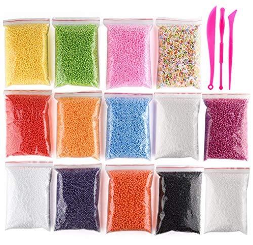 OOTSR (15 stücke) Schaumkugeln schleim Handwerk kit, Kleine Polystyrolschaum Perlen Slime Kit für Mädchen und Jungen DIY Hausgemachte Slime Making kit (Enthalten Kein Schleim)