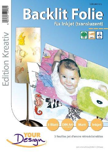 Preisvergleich Produktbild Your Design Druckfolie: 3 Blatt Inkjet Backlit-Folie (transluzent) 170µm A4 (Fototransferfolie)