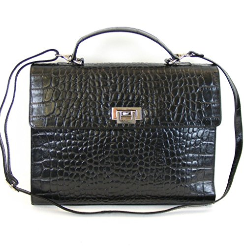 Pavini Damen Tasche Überschlagtasche Croco Leder schwarz 12516 Handyfach RV-Fach -