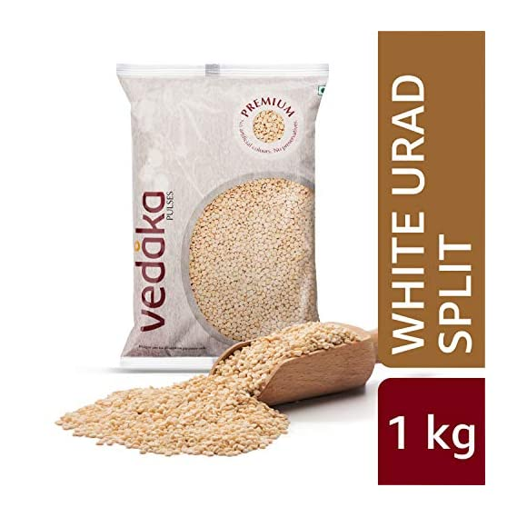 Amazon Brand - Vedaka Premium White Urad Split, 1 kg
