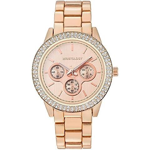 wristology Alex Mujer Chunky oro rosa novio reloj de metal con cristales