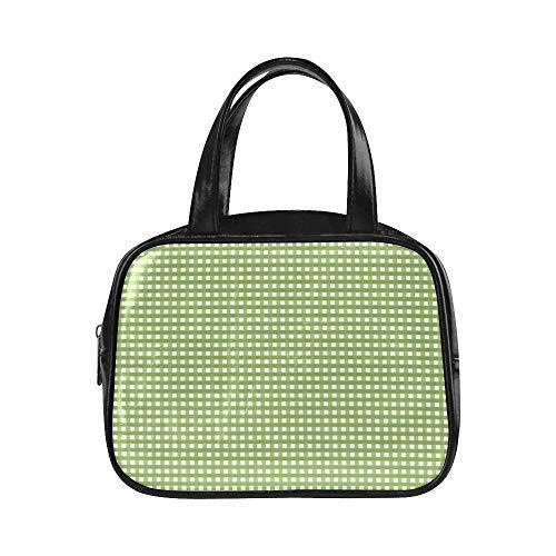 LONGYUU Klassische Modetasche Karierte Karierte Stoffquadrate Einkaufstasche Wiederverwendbare Einkaufstaschen Pu-Leder Handtasche mit Griffschultasche für Damen