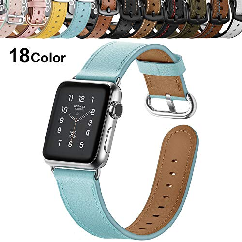 Chok Idea Leder Strap Compatible with Apple Watch Armband 42mm 44mm,Echtleder Ersatz Armband Mit Secure Metal Schnalle Replacement for iWatch Apple Watch Series 4 3/2/1,Cyan-Blue -