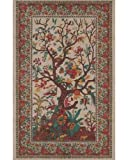 Cream Tree of Life Indian Bedspread, Queen Size by India Arts