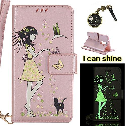 Preisvergleich Produktbild für LG K10 (2016) Hülle Flip-Case Premium Kunstleder Tasche im Bookstyle Klapphülle mit Weiche Silikon Handyhalter Lederhülle für für LG K10 /2016(5.3 Zoll) Luminous Mädchen Katze case Hülle +Stöpsel Staubschutz (4)