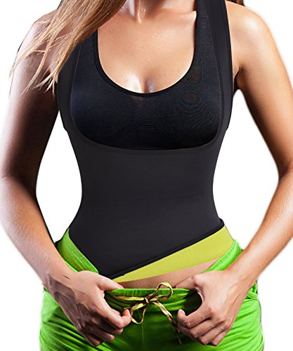 Chumian Damen Waist Taille Cincher Hot Sweat Neopren Sport Weste Body Shaper Korsett Shirt für Fettverbrenner (Black(2-3 Days Delivery), M(Fit 28.3-32.2 Inch Waist))