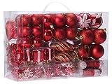 Sea Team 72 Weihnachtskugeln Box Christbaumschmuck aus Kunststoff Glanzend, Rot