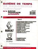 BAREME DE TEMPS DE MAIN-D'OEUVRE MECANIQUE DE LA REVUE TECHNIQUE AUTOMOBILE RENAULT ET DACIA 12 EME EDITION TOME 2 / SCENIC II / GRAND SCENIC II / SCENIC III / GRAND SCENIC III / ESPACE III / ESPACE IV / AVANTIME / KOLEOS / KANGOO / KANGOO II / TRAFIC / MASTER / SANDERO / LOGAN / DUSTER