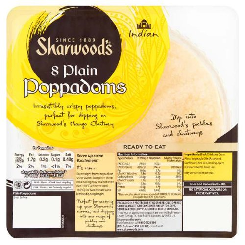 Sharwood den 8 Plain Poppadoms (Packung mit 5 x 72g)