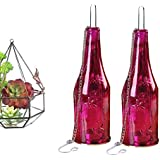 The Home Talk Red Glass Hanging Tea-light Holders Bottles, Size: 9 Inch X 2.5 Inch, Reusable Tea Light Holder / Comes With A Hanging Chain, 2 Tea Light Candle FREE, (SET OF 2)- RED